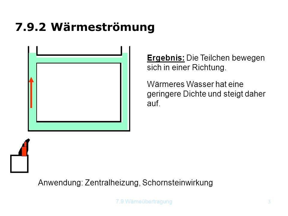 7.9 Wämeübertragung3 7.9.2 Wärmeströmung Anwendung: Zentralheizung, Schornsteinwirkung Wärmeres Wasser hat eine geringere Dichte und steigt daher auf.