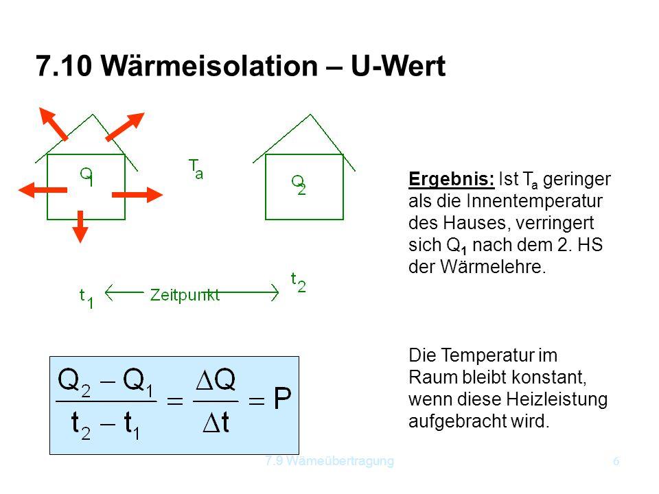 6 7.10 Wärmeisolation – U-Wert Ergebnis: Ist T a geringer als die Innentemperatur des Hauses, verringert sich Q 1 nach dem 2. HS der Wärmelehre. Die T