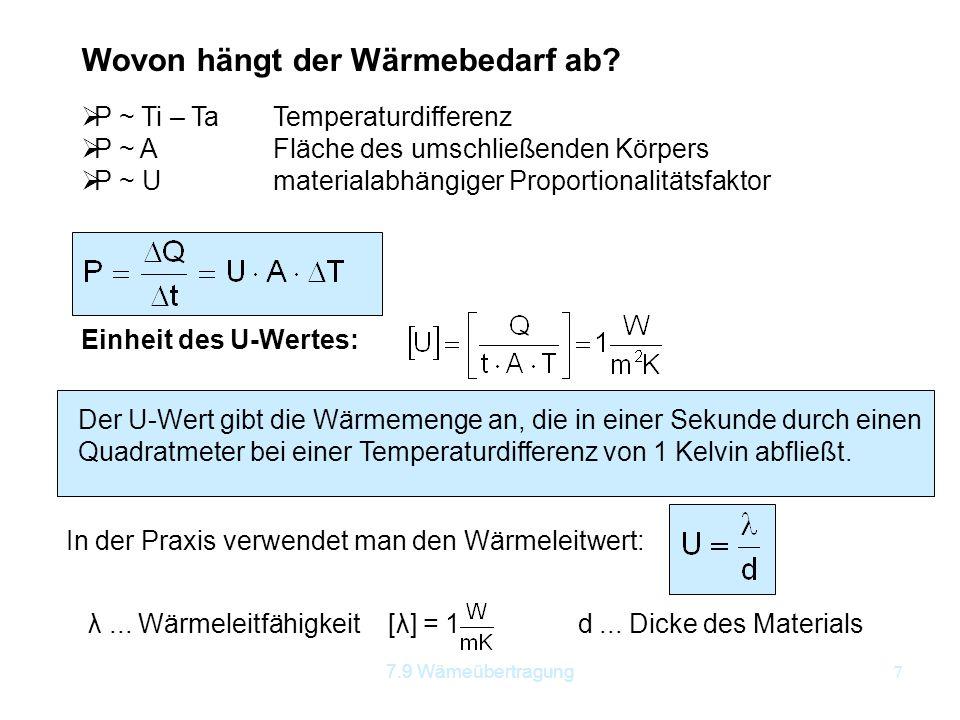 7.9 Wämeübertragung7 Wovon hängt der Wärmebedarf ab?  P ~ Ti – TaTemperaturdifferenz  P ~ AFläche des umschließenden Körpers  P ~ Umaterialabhängig