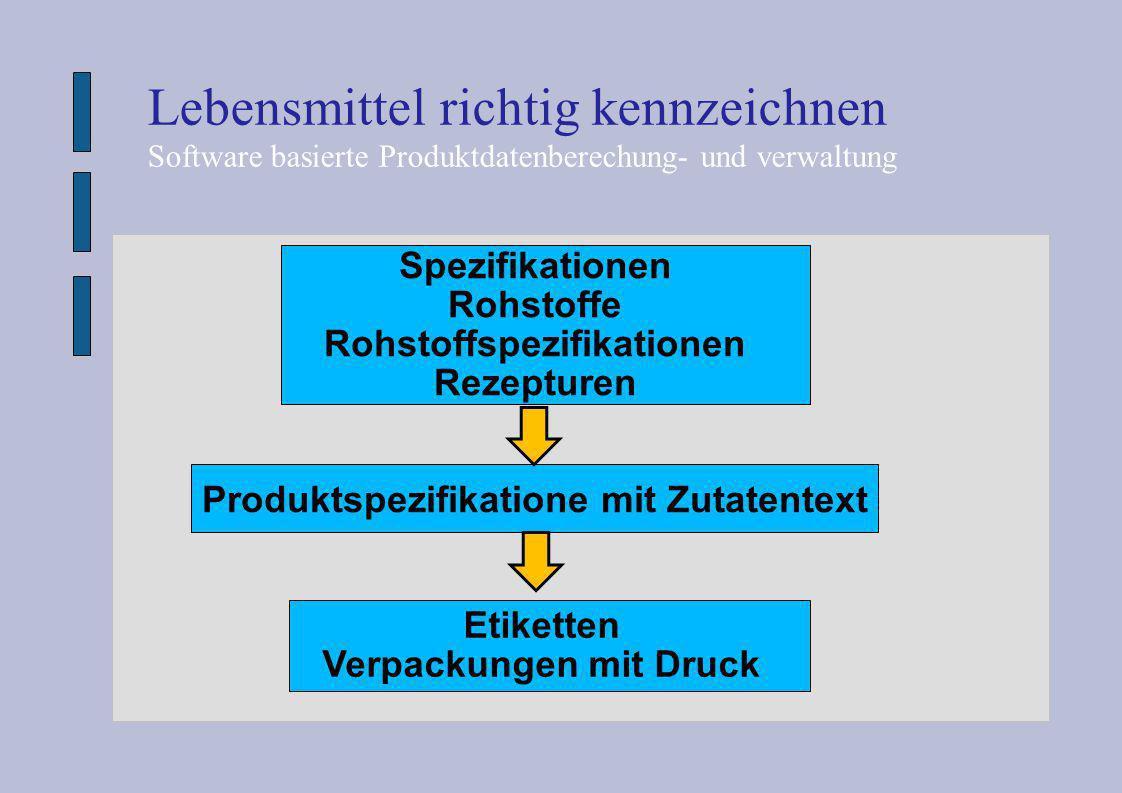 Spezifikationen Rohstoffe Rohstoffspezifikationen Rezepturen Produktspezifikatione mit Zutatentext Lebensmittel richtig kennzeichnen Software basierte