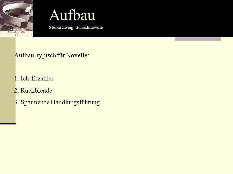 Aufbau Aufbau, typisch für Novelle: 1. Ich-Erzähler 2. Rückblende 3. Spannende Handlungsführung Stefan Zweig: Schachnovelle