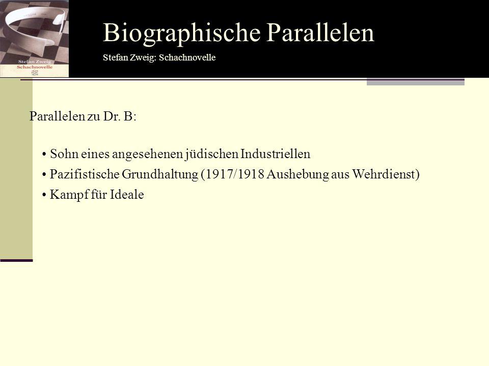 Biographische Parallelen Parallelen zu Dr. B: Stefan Zweig: Schachnovelle Sohn eines angesehenen jüdischen Industriellen Pazifistische Grundhaltung (1