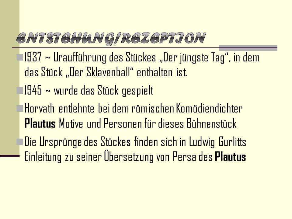 """1937 ~ Uraufführung des Stückes """"Der jüngste Tag"""", in dem das Stück """"Der Sklavenball"""" enthalten ist. 1945 ~ wurde das Stück gespielt Horvath entlehnte"""