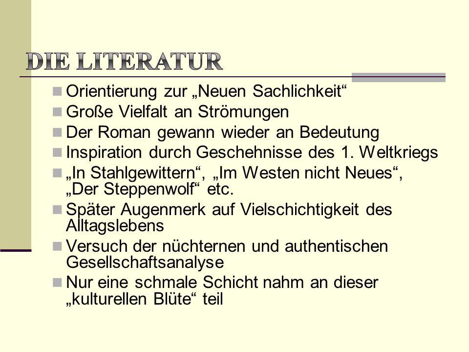 """Orientierung zur """"Neuen Sachlichkeit"""" Große Vielfalt an Strömungen Der Roman gewann wieder an Bedeutung Inspiration durch Geschehnisse des 1. Weltkrie"""
