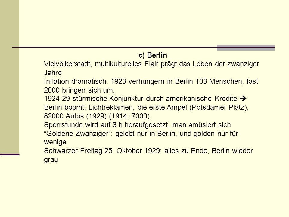 c) Berlin Vielvölkerstadt, multikulturelles Flair prägt das Leben der zwanziger Jahre Inflation dramatisch: 1923 verhungern in Berlin 103 Menschen, fa