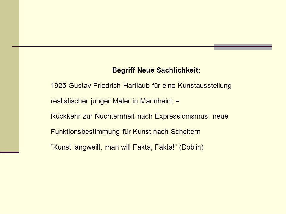 Begriff Neue Sachlichkeit: 1925 Gustav Friedrich Hartlaub für eine Kunstausstellung realistischer junger Maler in Mannheim = Rückkehr zur Nüchternheit