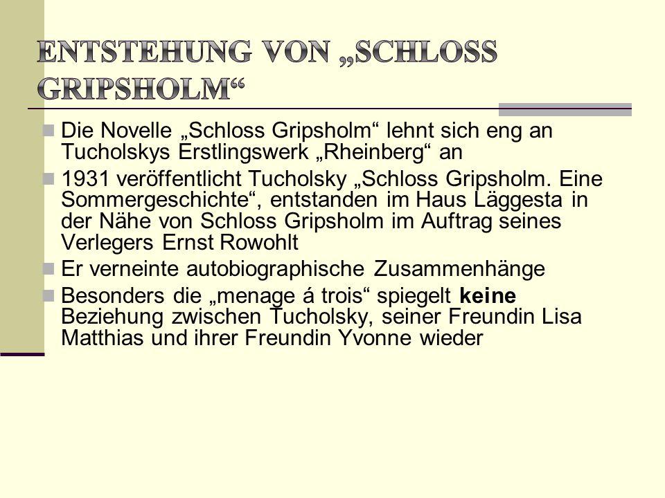 """Die Novelle """"Schloss Gripsholm"""" lehnt sich eng an Tucholskys Erstlingswerk """"Rheinberg"""" an 1931 veröffentlicht Tucholsky """"Schloss Gripsholm. Eine Somme"""
