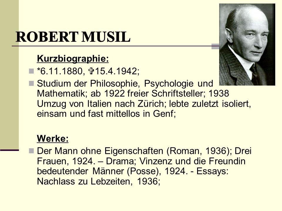 Kurzbiographie: *6.11.1880,  15.4.1942; Studium der Philosophie, Psychologie und Mathematik; ab 1922 freier Schriftsteller; 1938 Umzug von Italien na