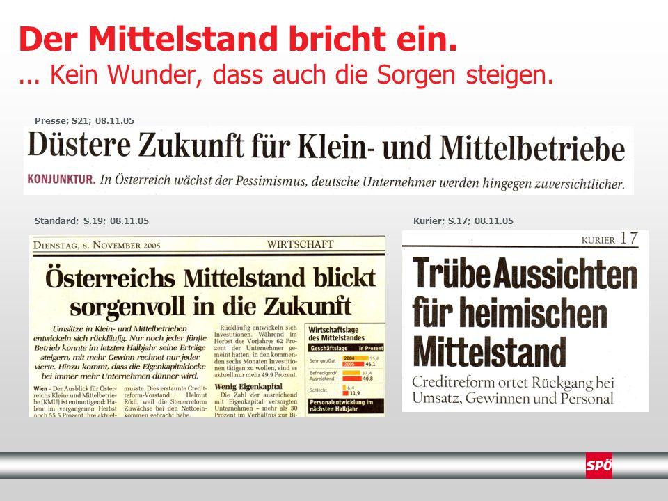 Krone; S.5; 08.11.05 SN; S.13; 08.11.05 Wirtschaftsblatt; S.4; 08.11.05 Der Mittelstand bricht ein....
