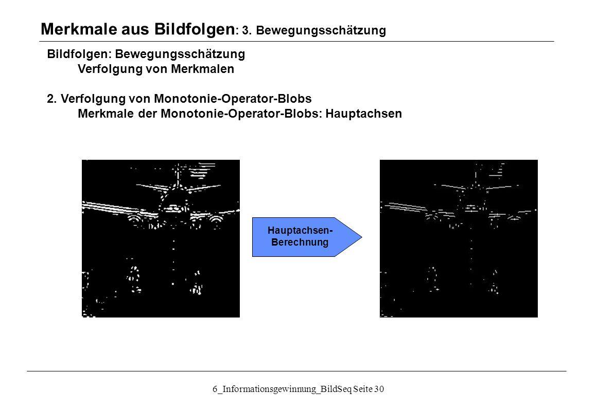 6_Informationsgewinnung_BildSeq Seite 30 Bildfolgen: Bewegungsschätzung Verfolgung von Merkmalen 2.