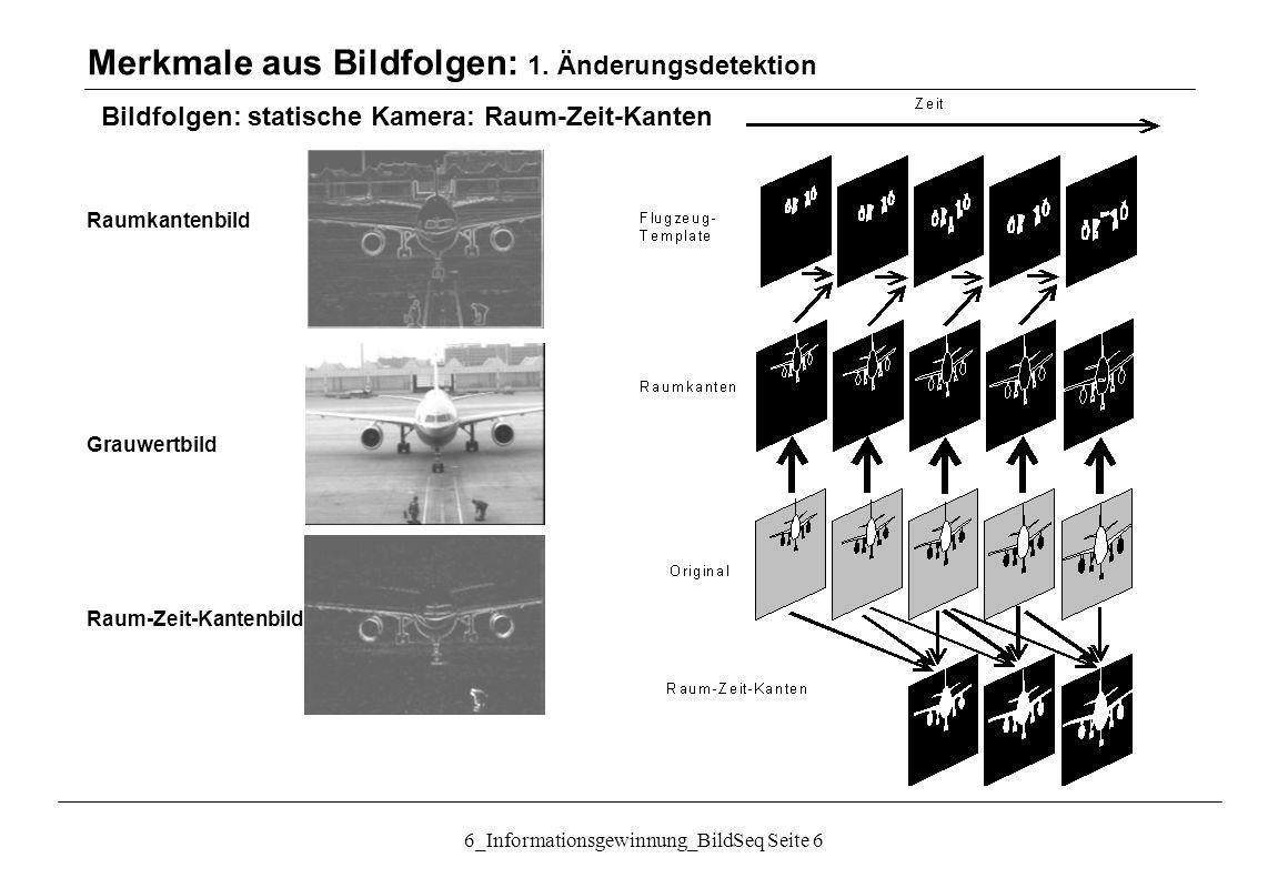 6_Informationsgewinnung_BildSeq Seite 37 Bildfolgen: Bewegungsschätzung Optischer Fluss Behandlung der Beschränkung des Algorithmus auf  x und  y kleiner ein Pixel: Erzeugung einer Gauss´schen Auflösungspyramide: Flussschätzung beginnend in kleinster Auflösung  Flussvektorfeld Warping mit Flussvektorfeld Flussschätzung mit gewarptem Bild in nächster Auflösung, Addition zum alten Flussvektorfeld Merkmale aus Bildfolgen : 3.