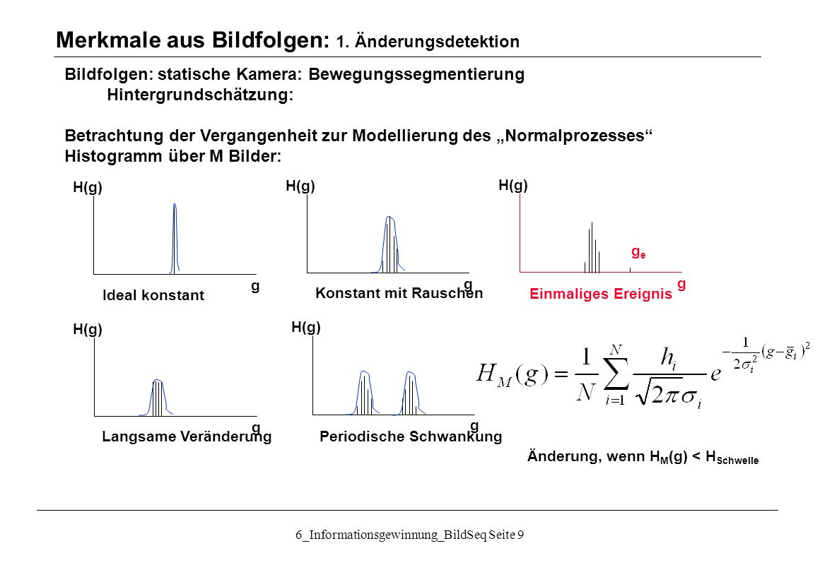 """6_Informationsgewinnung_BildSeq Seite 10 Bildfolgen: statische Kamera: Bewegungssegmentierung Hintergrundschätzung: Vorgehensweise Betrachtung der Vergangenheit zur Modellierung des """"Normalprozesses Berechnung eines Bewegungssegment-Bildes (binär Bewegtobjekt-stat."""