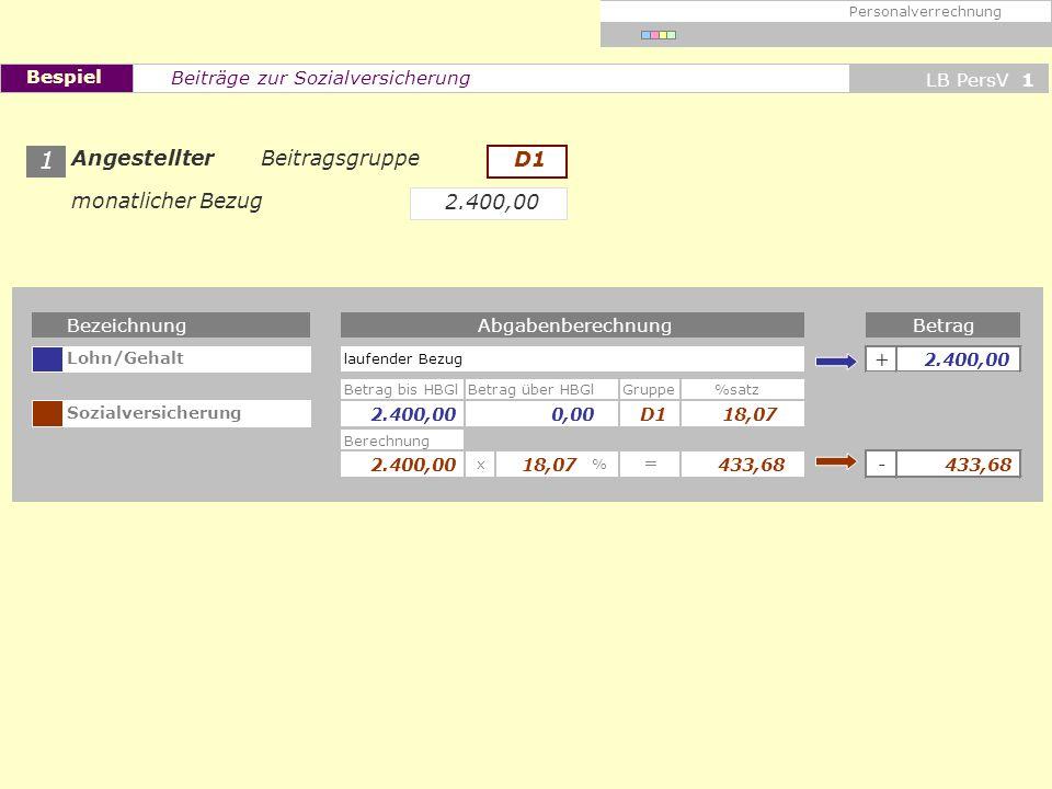 Bezeichnung Lohn/Gehalt + Betrag bis HBGlBetrag über HBGlGruppe%satz Sozialversicherung Berechnung x% - = BetragAbgabenberechnung laufender Bezug Pers