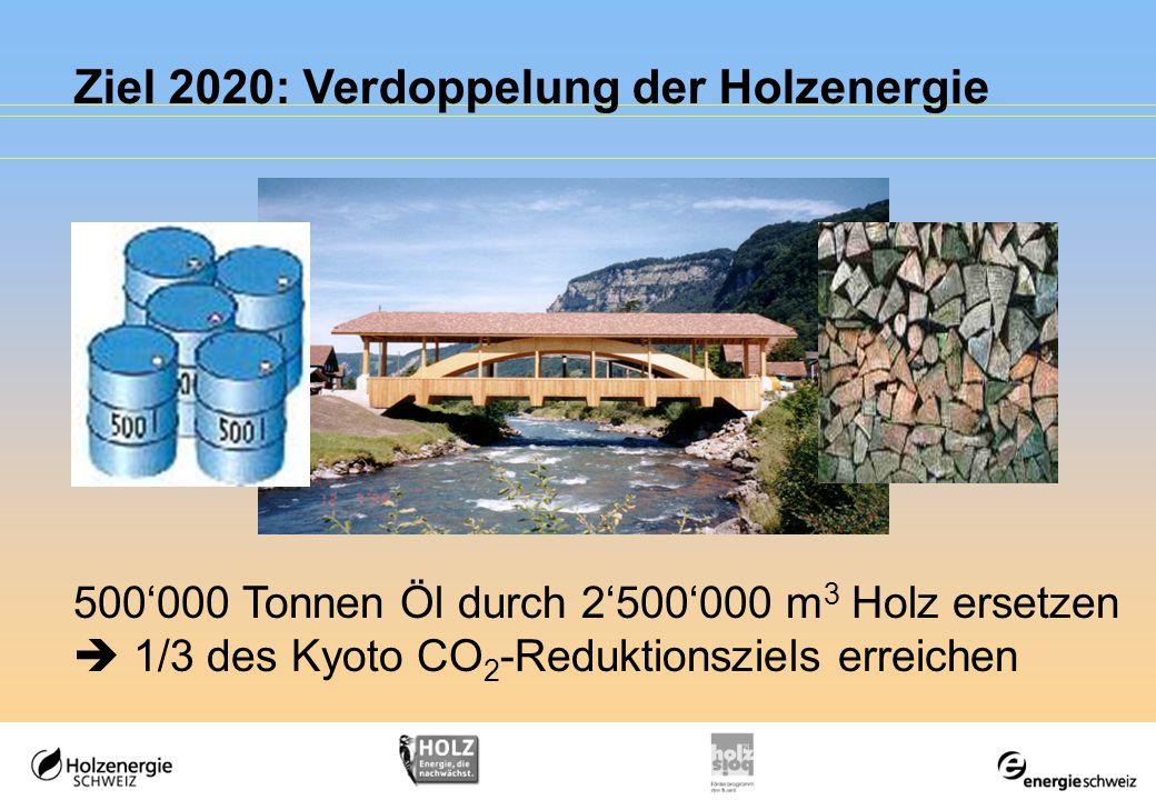 Ziel 2020: Verdoppelung der Holzenergie 500'000 Tonnen Öl durch 2'500'000 m 3 Holz ersetzen  1/3 des Kyoto CO 2 -Reduktionsziels erreichen
