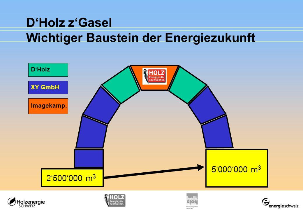 D'Holz z'Gasel Wichtiger Baustein der Energiezukunft 2'500'000 m 3 5'000'000 m 3 Imagekamp.