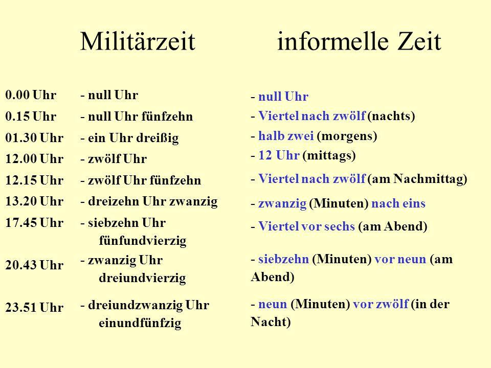 Time - die Zeit Asking for the time in German: Wie viel Uhr ist es.