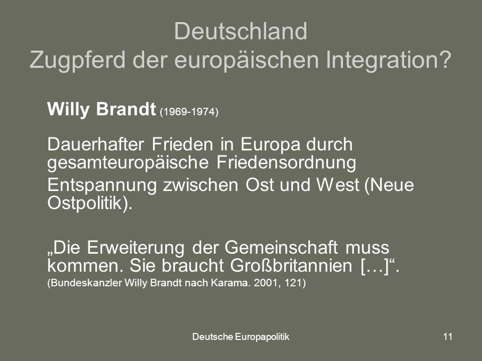 Deutsche Europapolitik11 Deutschland Zugpferd der europäischen Integration.