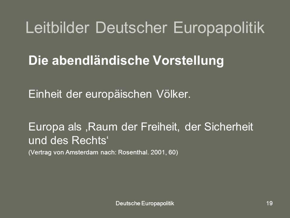 Deutsche Europapolitik19 Leitbilder Deutscher Europapolitik Die abendländische Vorstellung Einheit der europäischen Völker.