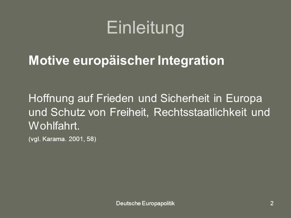 Deutsche Europapolitik2 Einleitung Motive europäischer Integration Hoffnung auf Frieden und Sicherheit in Europa und Schutz von Freiheit, Rechtsstaatlichkeit und Wohlfahrt.