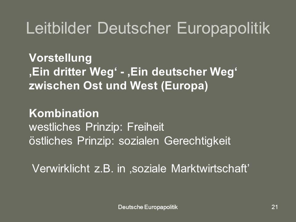 Deutsche Europapolitik21 Leitbilder Deutscher Europapolitik Vorstellung 'Ein dritter Weg' - 'Ein deutscher Weg' zwischen Ost und West (Europa) Kombination westliches Prinzip: Freiheit östliches Prinzip: sozialen Gerechtigkeit Verwirklicht z.B.