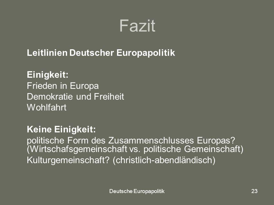 Deutsche Europapolitik23 Fazit Leitlinien Deutscher Europapolitik Einigkeit: Frieden in Europa Demokratie und Freiheit Wohlfahrt Keine Einigkeit: politische Form des Zusammenschlusses Europas.