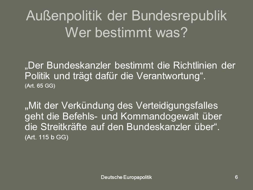 Deutsche Europapolitik7 Außenpolitik der Bundesrepublik Wer bestimmt was.