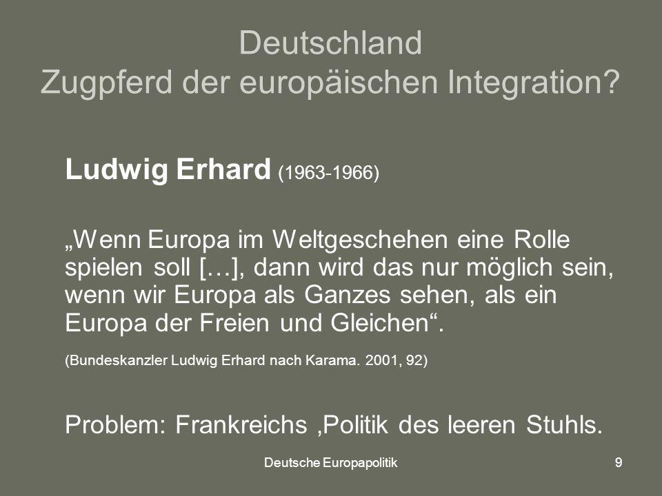 Deutsche Europapolitik9 Deutschland Zugpferd der europäischen Integration.
