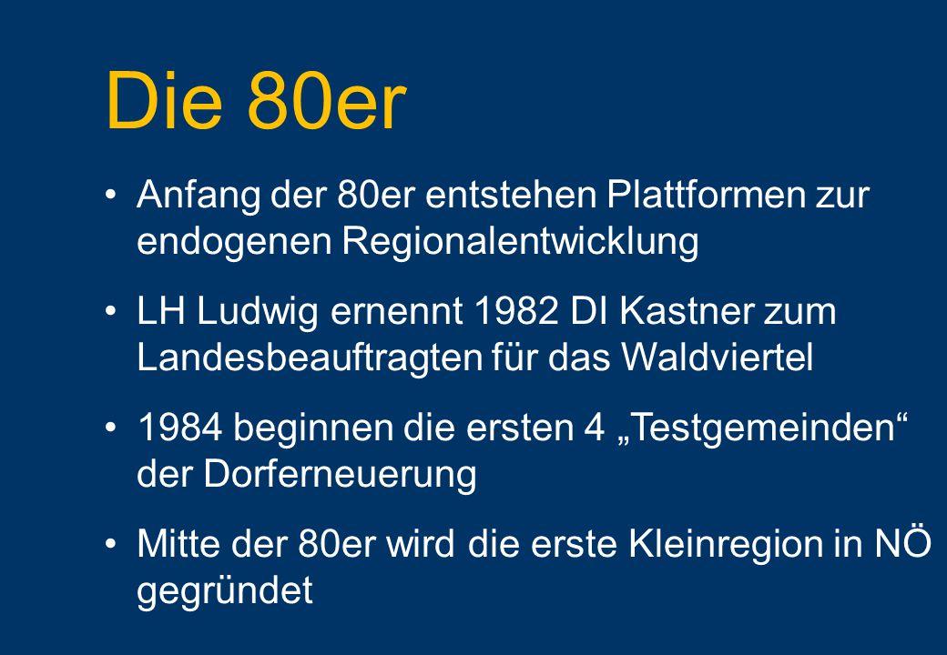 """Die 80er Anfang der 80er entstehen Plattformen zur endogenen Regionalentwicklung LH Ludwig ernennt 1982 DI Kastner zum Landesbeauftragten für das Waldviertel 1984 beginnen die ersten 4 """"Testgemeinden der Dorferneuerung Mitte der 80er wird die erste Kleinregion in NÖ gegründet"""