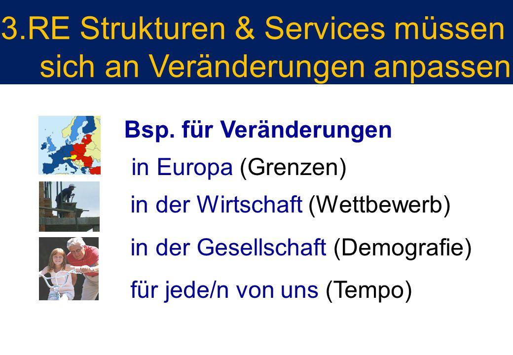 Bsp. für Veränderungen in Europa (Grenzen) in der Wirtschaft (Wettbewerb) in der Gesellschaft (Demografie) für jede/n von uns (Tempo) 3.RE Strukturen