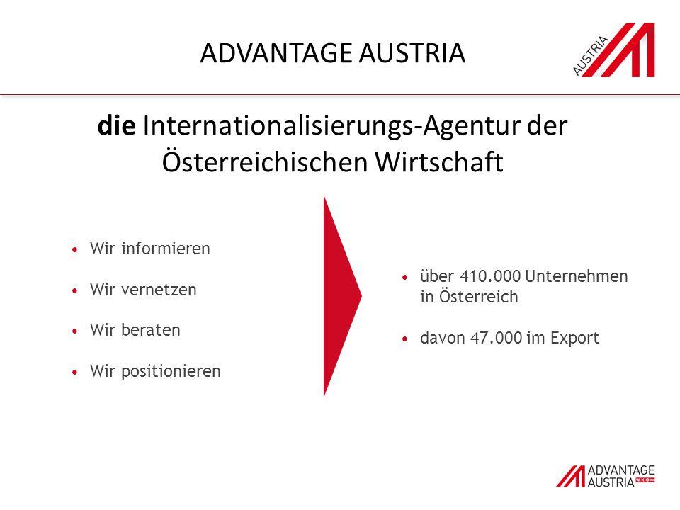 Wir informieren Wir vernetzen Wir beraten Wir positionieren über 410.000 Unternehmen in Österreich davon 47.000 im Export ADVANTAGE AUSTRIA die Internationalisierungs-Agentur der Österreichischen Wirtschaft