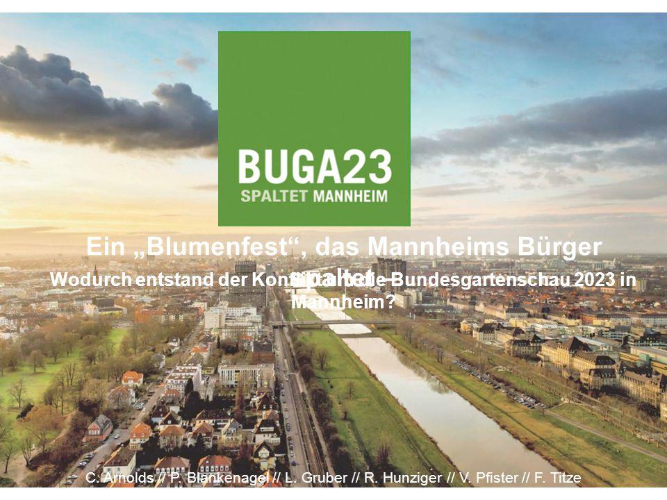 PORTRAIT - GEMEINDERAT Besteht aus 48 Stadträtinnen und Stadträten 19.02.13 – Entscheidung für eine Bewerbung zur BUGA 2023 18.06.13 – Entscheidung für einen Bürgerentscheid im September Haltung zur BUGA: Gespalten, von Partei abhängig.
