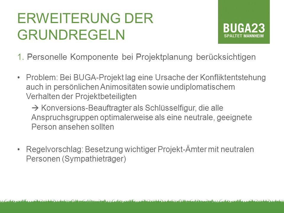 ERWEITERUNG DER GRUNDREGELN 1. Personelle Komponente bei Projektplanung berücksichtigen Problem: Bei BUGA-Projekt lag eine Ursache der Konfliktentsteh