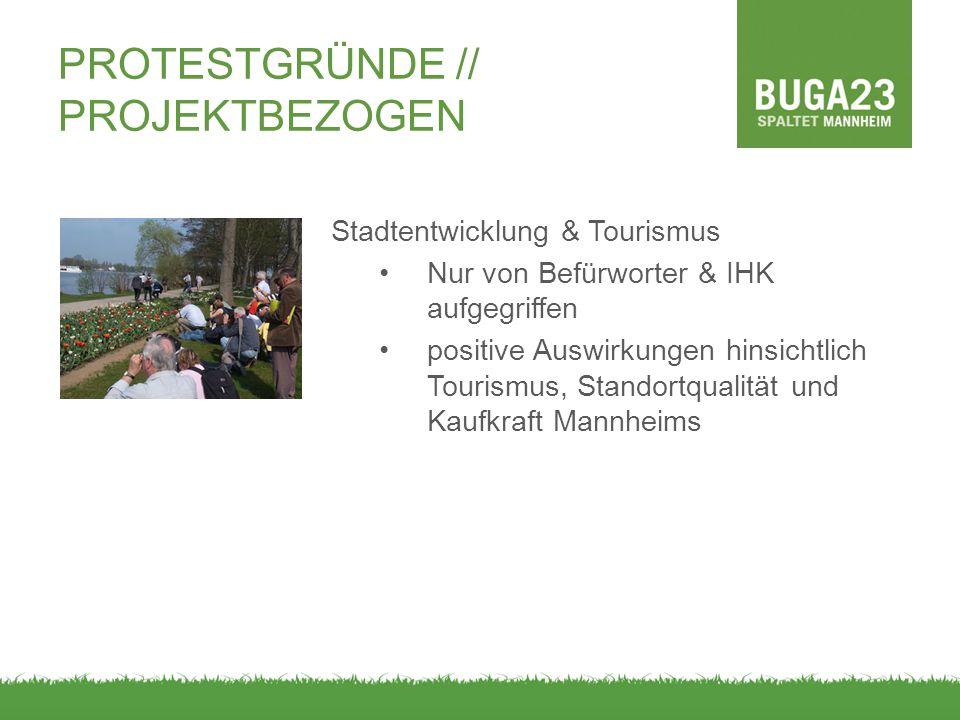 Stadtentwicklung & Tourismus Nur von Befürworter & IHK aufgegriffen positive Auswirkungen hinsichtlich Tourismus, Standortqualität und Kaufkraft Mannheims PROTESTGRÜNDE // PROJEKTBEZOGEN