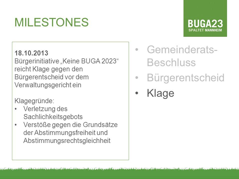"""MILESTONES Gemeinderats- Beschluss Bürgerentscheid Klage 18.10.2013 Bürgerinitiative """"Keine BUGA 2023"""" reicht Klage gegen den Bürgerentscheid vor dem"""