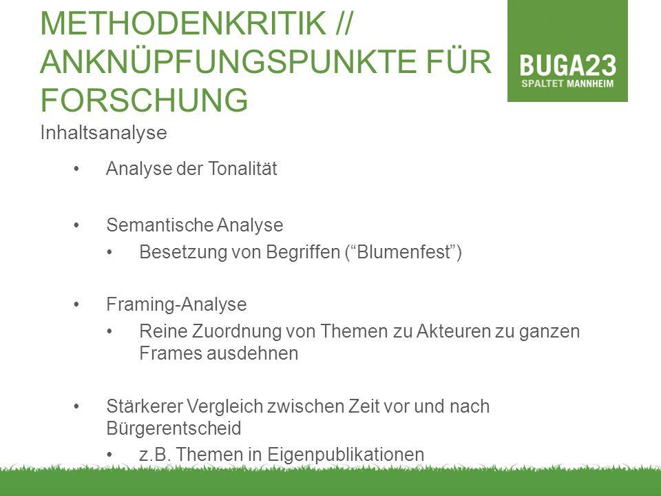 """Inhaltsanalyse Analyse der Tonalität Semantische Analyse Besetzung von Begriffen (""""Blumenfest"""") Framing-Analyse Reine Zuordnung von Themen zu Akteuren"""