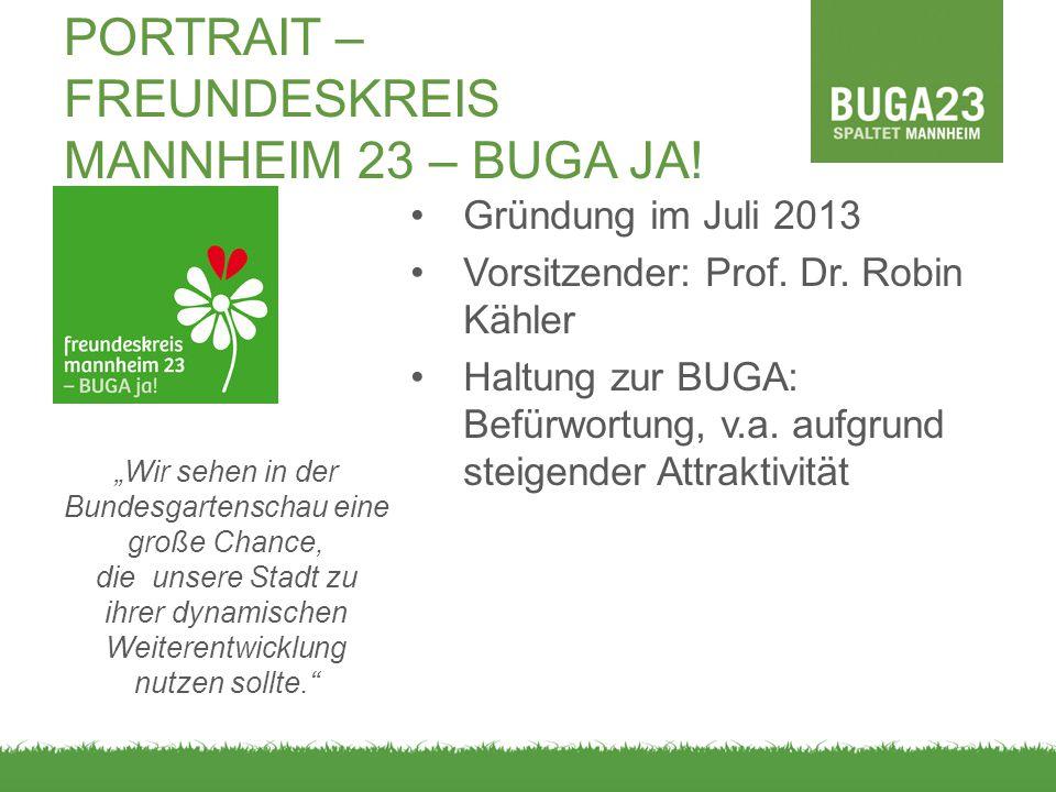 PORTRAIT – FREUNDESKREIS MANNHEIM 23 – BUGA JA! Gründung im Juli 2013 Vorsitzender: Prof. Dr. Robin Kähler Haltung zur BUGA: Befürwortung, v.a. aufgru