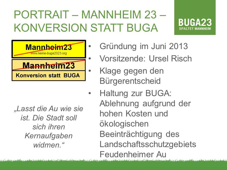 PORTRAIT – MANNHEIM 23 – KONVERSION STATT BUGA Gründung im Juni 2013 Vorsitzende: Ursel Risch Klage gegen den Bürgerentscheid Haltung zur BUGA: Ablehn