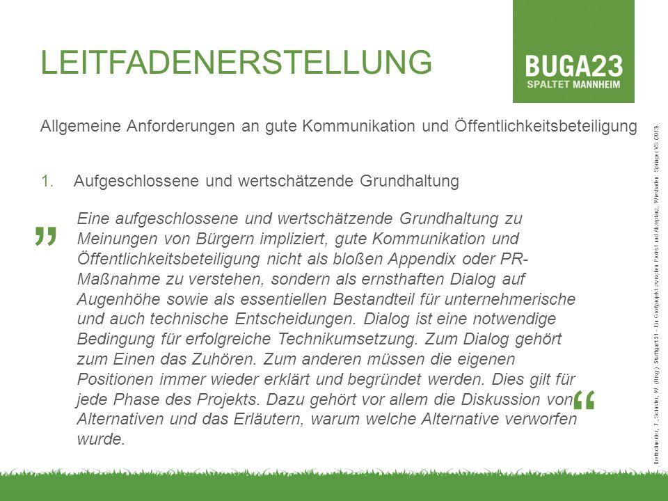 LEITFADENERSTELLUNG Allgemeine Anforderungen an gute Kommunikation und Öffentlichkeitsbeteiligung 1.Aufgeschlossene und wertschätzende Grundhaltung Brettschneider, F., Schuster, W.
