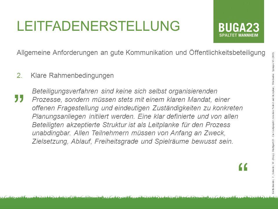 Allgemeine Anforderungen an gute Kommunikation und Öffentlichkeitsbeteiligung 2.Klare Rahmenbedingungen Brettschneider, F., Schuster, W. (Hrsg.): Stut