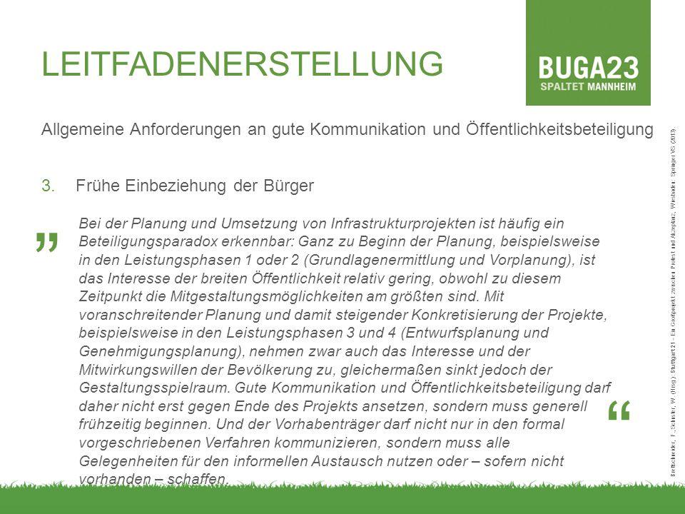 Allgemeine Anforderungen an gute Kommunikation und Öffentlichkeitsbeteiligung 3.Frühe Einbeziehung der Bürger Brettschneider, F., Schuster, W.