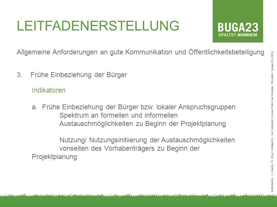 Allgemeine Anforderungen an gute Kommunikation und Öffentlichkeitsbeteiligung 3.Frühe Einbeziehung der Bürger Brettschneider, F., Schuster, W. (Hrsg.)