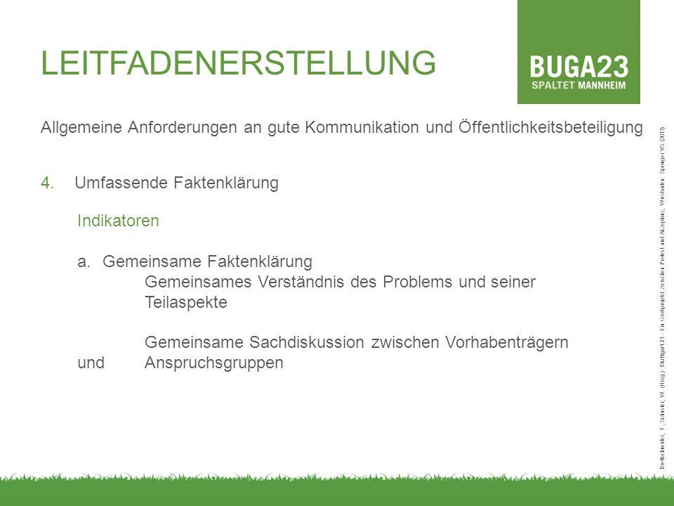 Allgemeine Anforderungen an gute Kommunikation und Öffentlichkeitsbeteiligung 4.Umfassende Faktenklärung Brettschneider, F., Schuster, W.