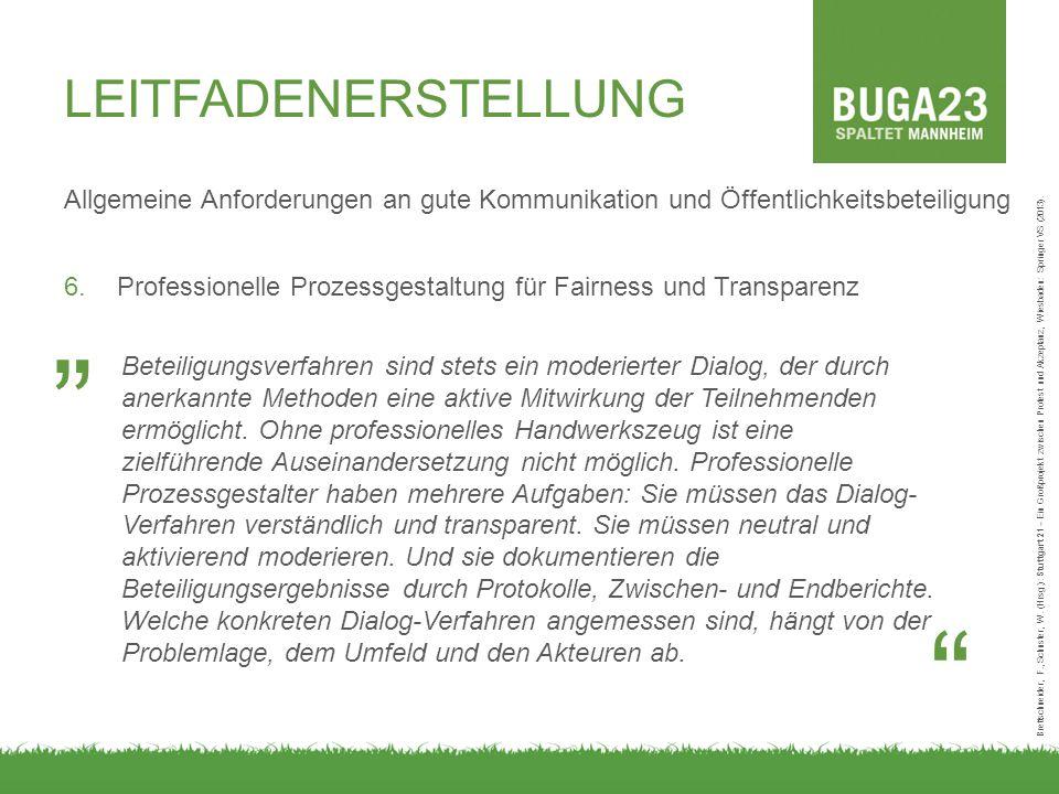 Allgemeine Anforderungen an gute Kommunikation und Öffentlichkeitsbeteiligung 6.Professionelle Prozessgestaltung für Fairness und Transparenz Brettschneider, F., Schuster, W.