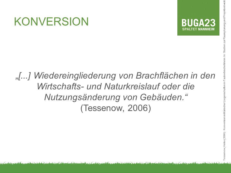 """""""[...] Wiedereingliederung von Brachflächen in den Wirtschafts- und Naturkreislauf oder die Nutzungsänderung von Gebäuden."""" (Tessenow, 2006) KONVERSIO"""