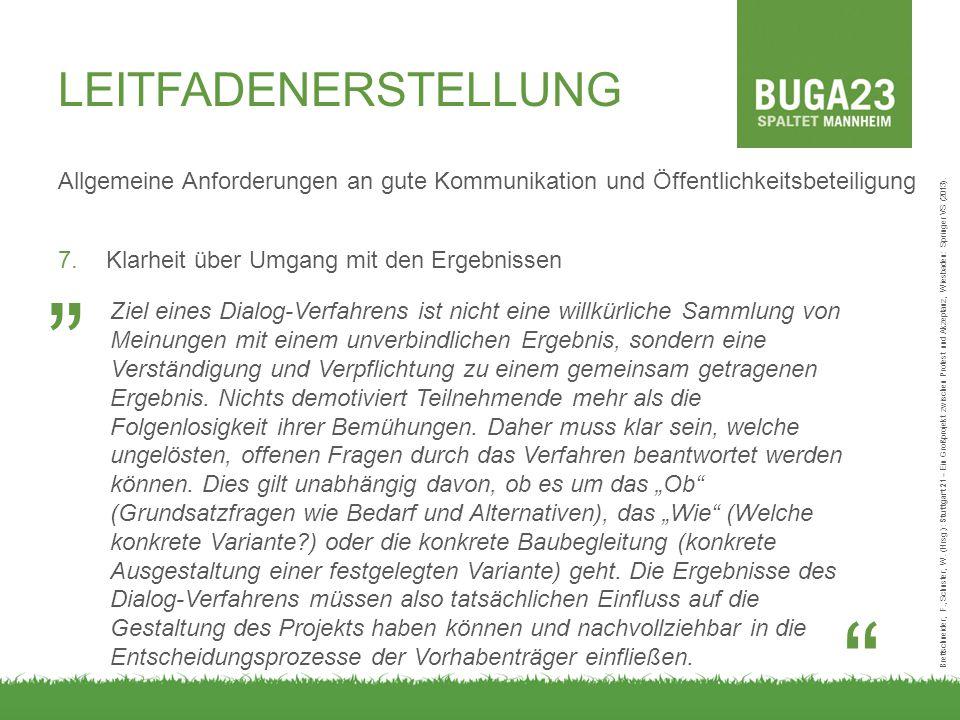 LEITFADENERSTELLUNG Allgemeine Anforderungen an gute Kommunikation und Öffentlichkeitsbeteiligung 7.Klarheit über Umgang mit den Ergebnissen Brettschneider, F., Schuster, W.