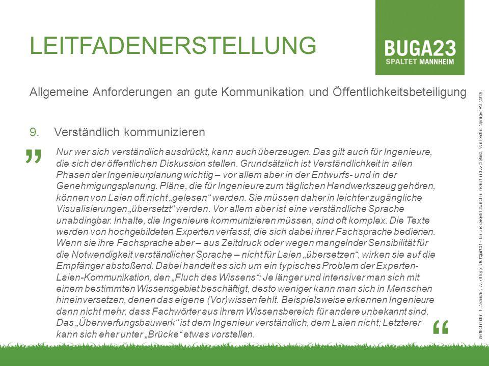 LEITFADENERSTELLUNG Allgemeine Anforderungen an gute Kommunikation und Öffentlichkeitsbeteiligung 9.Verständlich kommunizieren Brettschneider, F., Schuster, W.