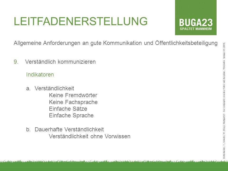 Allgemeine Anforderungen an gute Kommunikation und Öffentlichkeitsbeteiligung Brettschneider, F., Schuster, W. (Hrsg.): Stuttgart 21 – Ein Großprojekt
