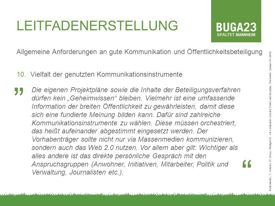 LEITFADENERSTELLUNG Allgemeine Anforderungen an gute Kommunikation und Öffentlichkeitsbeteiligung 10.Vielfalt der genutzten Kommunikationsinstrumente Brettschneider, F., Schuster, W.