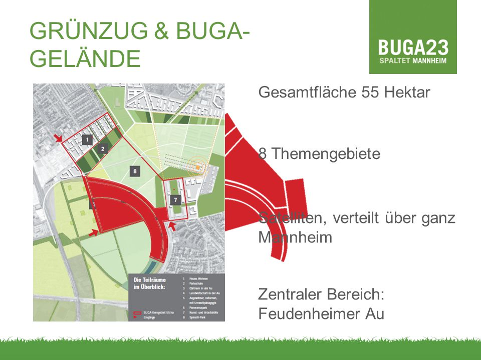 STADT- ENTWICKLUNG INFRASTRUKTUR/ VERKEHR KOSTEN/ FINANZIERUNG ÖKOLOGIE/ UMWELT TOURISMUS PLANUNG/ VERFAHREN KOMMUNIKATION THEMENSPINNE Wirtschafts- standort Freizeit- angebote Konversion Wohnraum Markenbildung Lebensqualität / Attraktivität Besucher- zahlen BUGA1975 Grundwasser/ See Grünzug Feudenheimer Au Landes- zuschüsse Privatinvestor Vergleichbare Projekte Günstige Alternativen Einnahmen Kostenplan Verschuldung Verkehrs- konzept Klage Zeitplan Verkehrs- gutachten Medienberichte Neutralität Dialogveranstal tungen Bürger- Engagement Werbung für BUGA Machbarkeits- studie Bürger- entscheid Planungs- gruppen Initiator d.