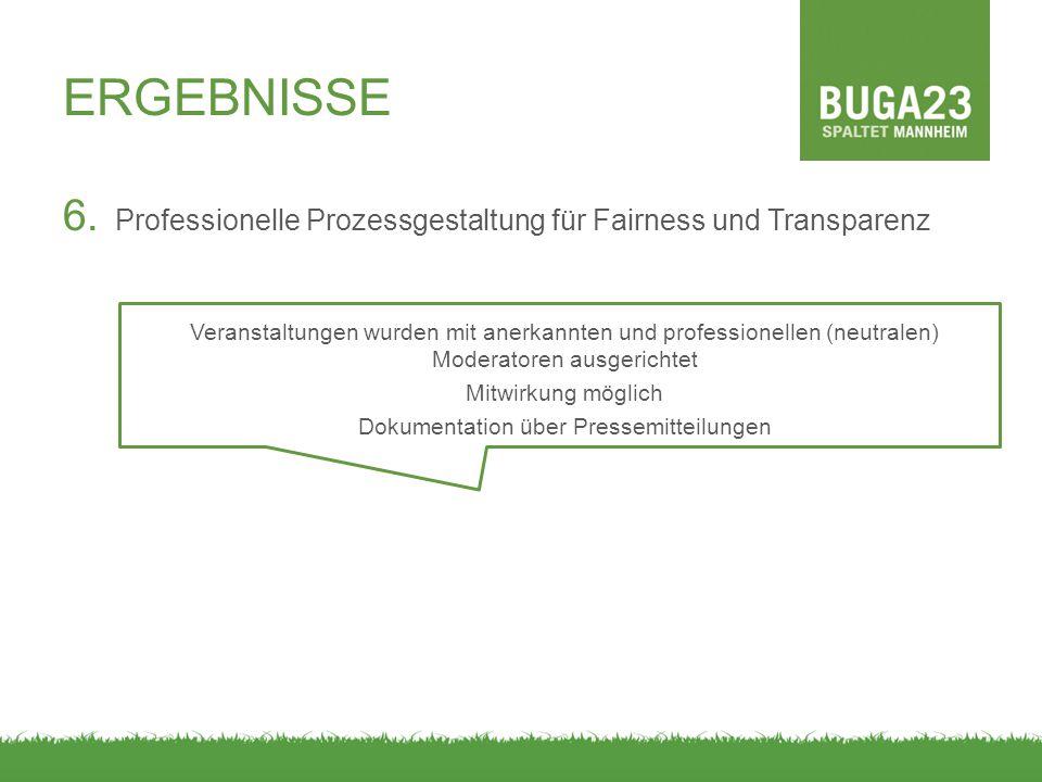 ERGEBNISSE 6. Professionelle Prozessgestaltung für Fairness und Transparenz Veranstaltungen wurden mit anerkannten und professionellen (neutralen) Mod